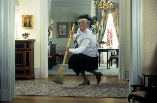 Robin Williams brooms in a scene from the film 'Mrs. Doubtfire', 1993. (Photo by 20th Century-Fox/Ge...