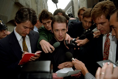 COLIN STAGG [C] ISSUES A STATEMENT TO JOURNALISTS OUTSIDE THE OLD BAILEY AFTER THE CASE AGAINST HIM ...