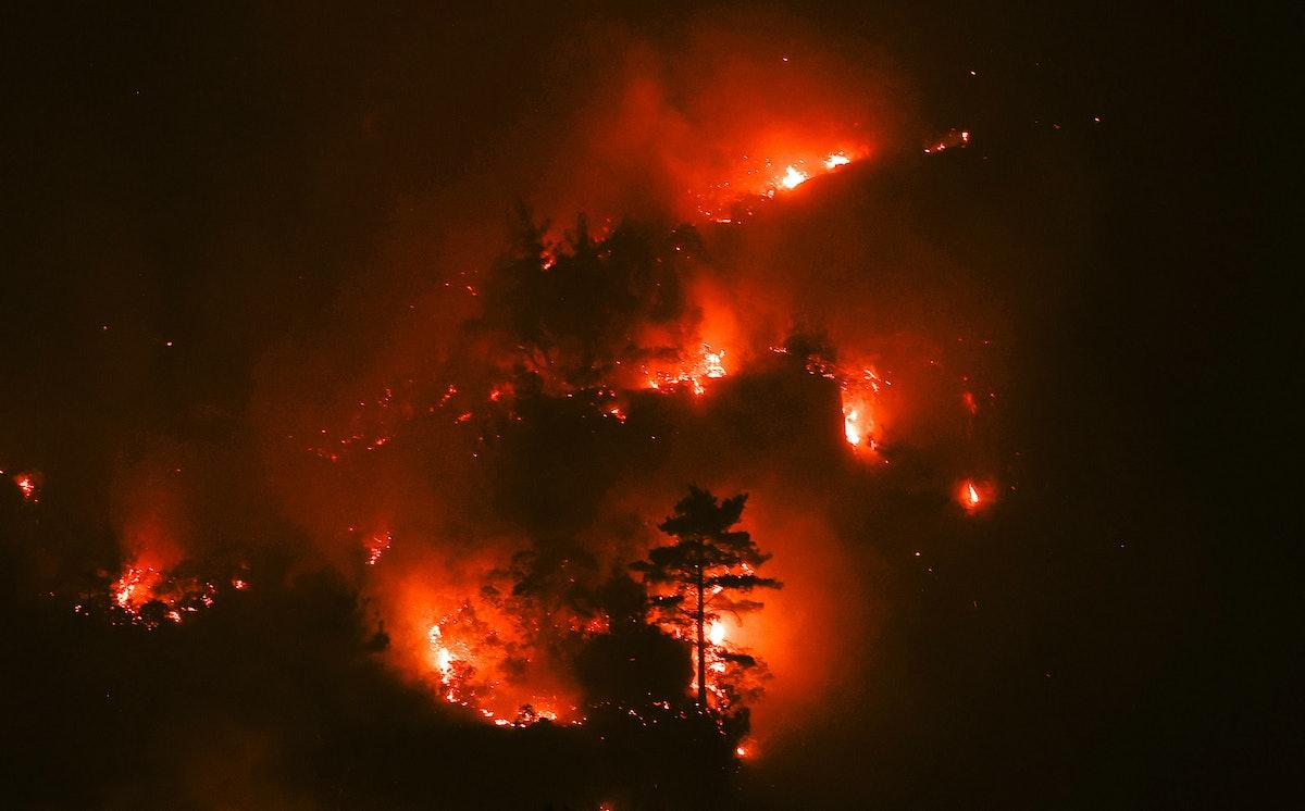 BURDUR, TURKEY - AUGUST 11: Flames rise after a forest fire broke out in Bucak district of Burdur, T...
