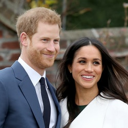 Prince Harry and Meghan Markle during an official photocall