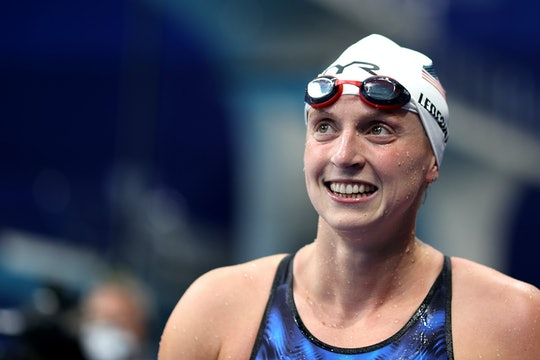 TOKYO, JAPAN - JULY 29: Katie Ledecky of Team United States looks on competing in heat four of the W...