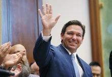 SURFSIDE, FLORIDA - JUNE 14: Florida Gov. Ron DeSantis arrives to speak during a press conference at...