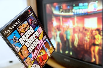 Staff Photo by John Ewing, Thursday, March 13, 2003: PlayStation 2's game Grand Theft Auto: Vice Cit...