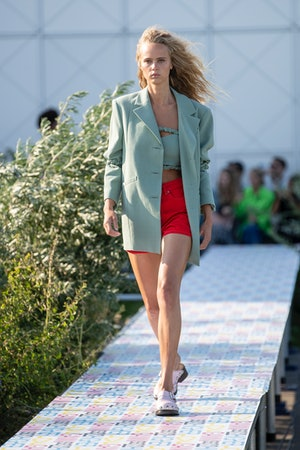 Ganni Spring 2022 offered a new way to dress for staying home, with whimsical prints, bright colors,...