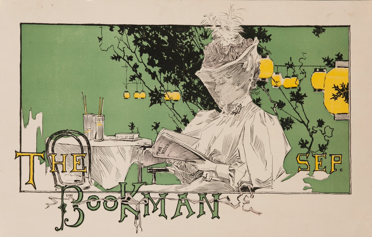 Art Nouveau illustration of veiled woman reading the September issue of The Bookman, Illustrated by ...