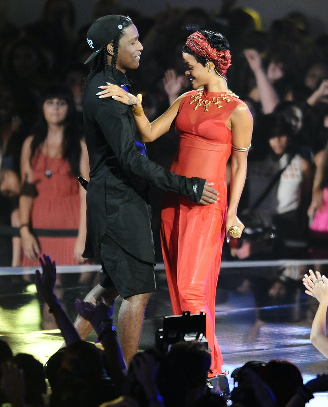 LOS ANGELES, CA - SEPTEMBER 06:  A$AP Rocky and Rihanna perform at the 2012 MTV Video Music Awards a...
