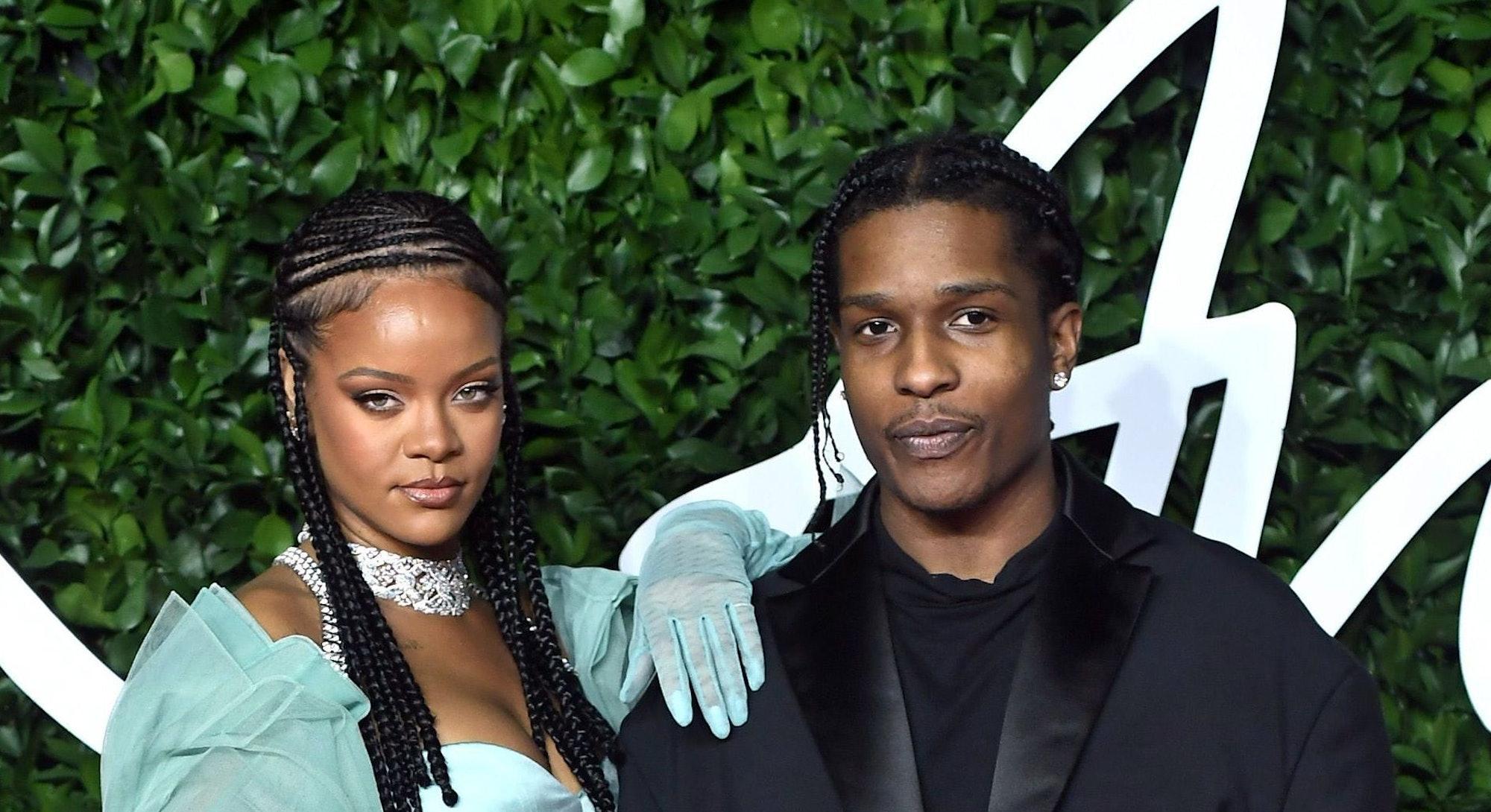 LONDON, ENGLAND - DECEMBER 02: ASAP Rocky and Rihanna arrive at The Fashion Awards 2019 held at Roya...