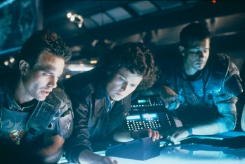 American actress Sigourney Weaver on the set of the film Aliens, directed by James Cameron. (Photo b...