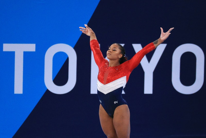 TOKYO, JAPAN  JULY 27, 2021: Jordan Chiles of the United States performs her floor exercise routine ...