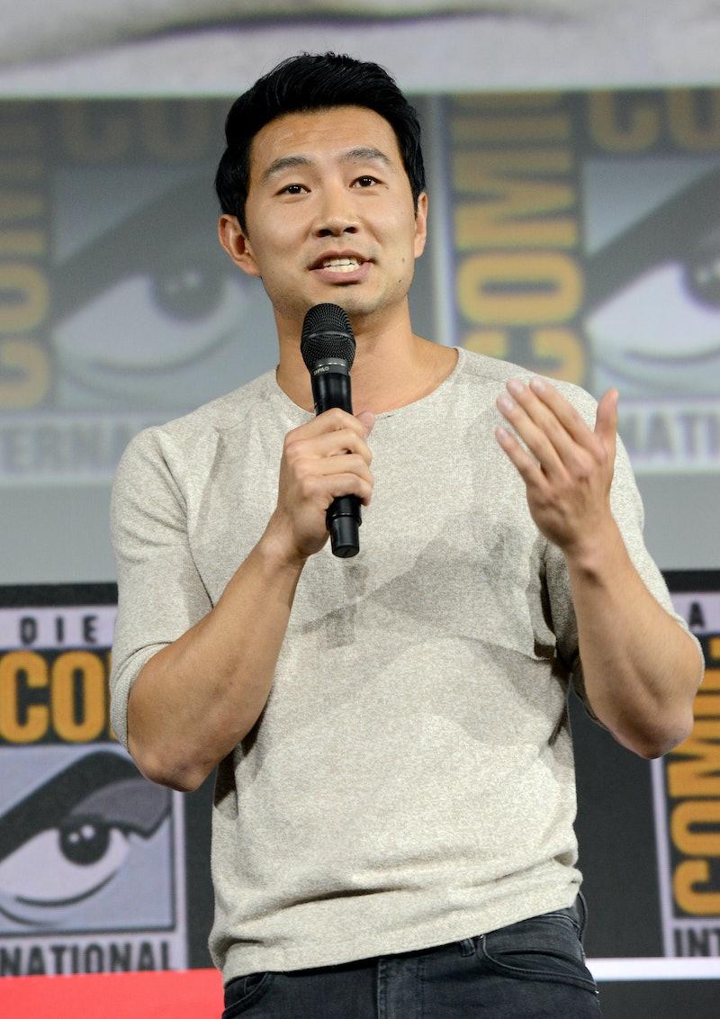 SAN DIEGO, CALIFORNIA - JULY 20: Simu Liu speaks the Marvel Studios Panel during 2019 Comic-Con Inte...
