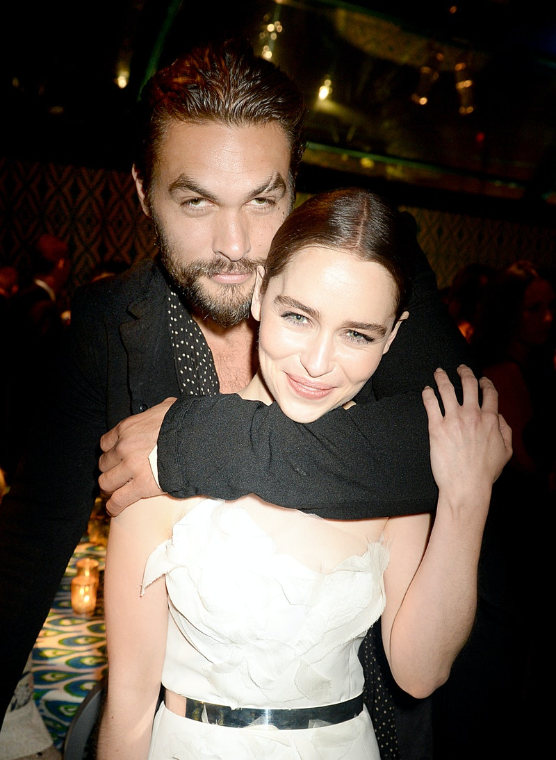 LOS ANGELES, CA - SEPTEMBER 22: Actors Jason Momoa and Emilia Clarke attend HBO's official Emmy afte...