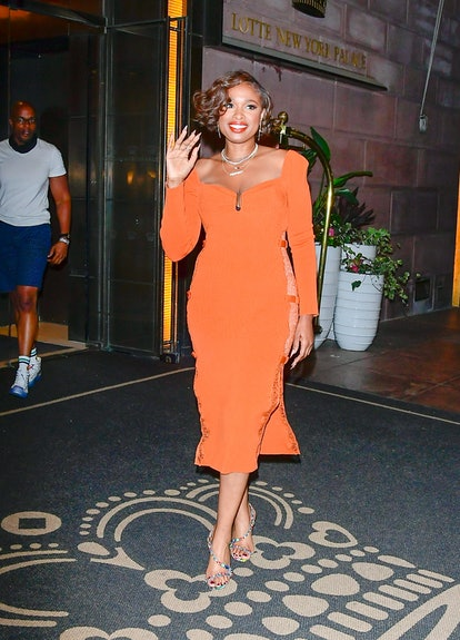 NEW YORK, NY - AUGUST 12:  Jennifer Hudson is seen in midtown on August 12, 2021 in New York City.  ...