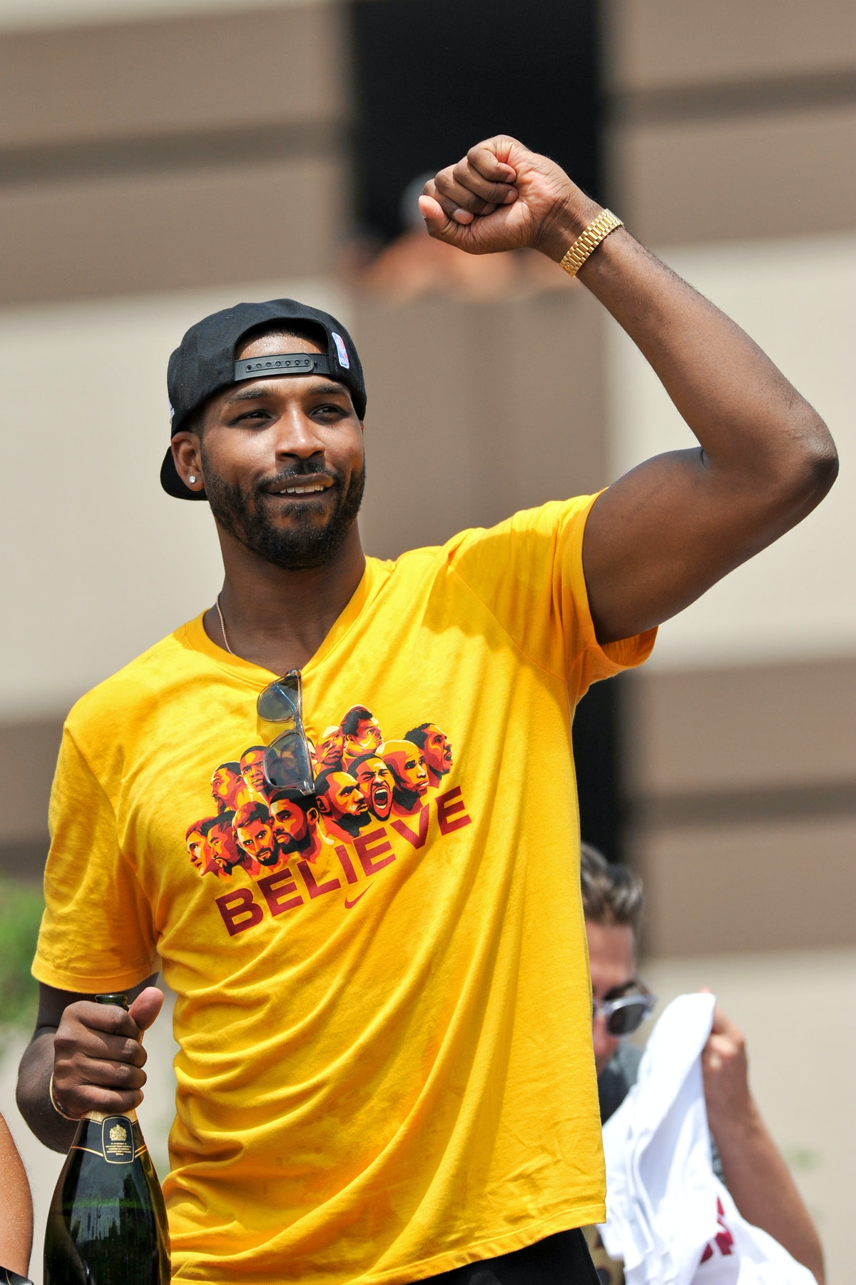 CLEVELAND, OH - JUNE 22, 2016: Tristan Thompson of the Cleveland Cavaliers celebrates during the Cle...