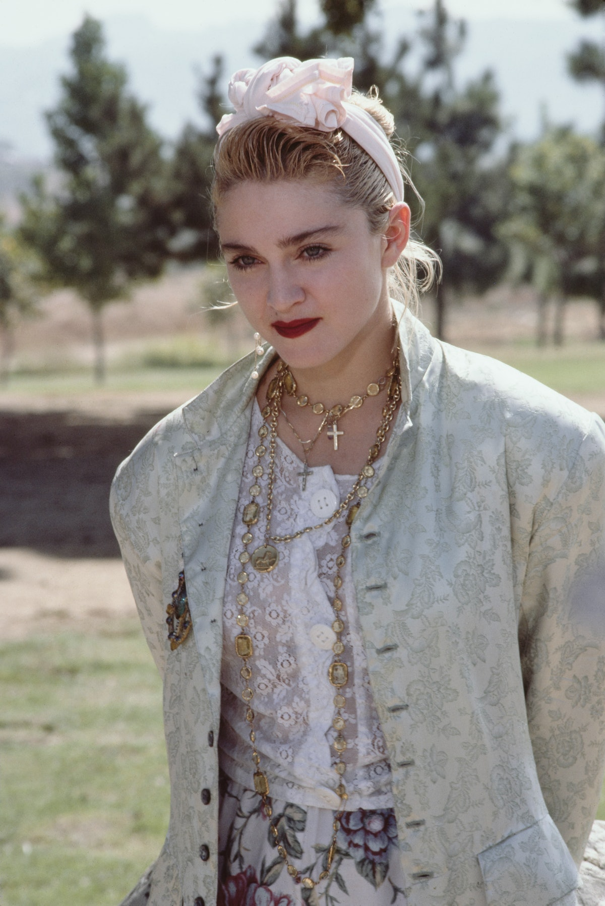American singer and actress Madonna at a Pro-Peace rally in Van Nuys, Los Angeles, California, 5th O...
