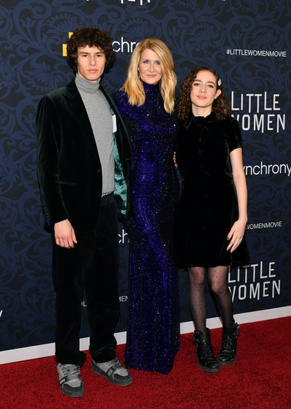 NEW YORK, NEW YORK - DECEMBER 07: Laura Dern (center) with children Ellery Harper and Jaya Harper at...