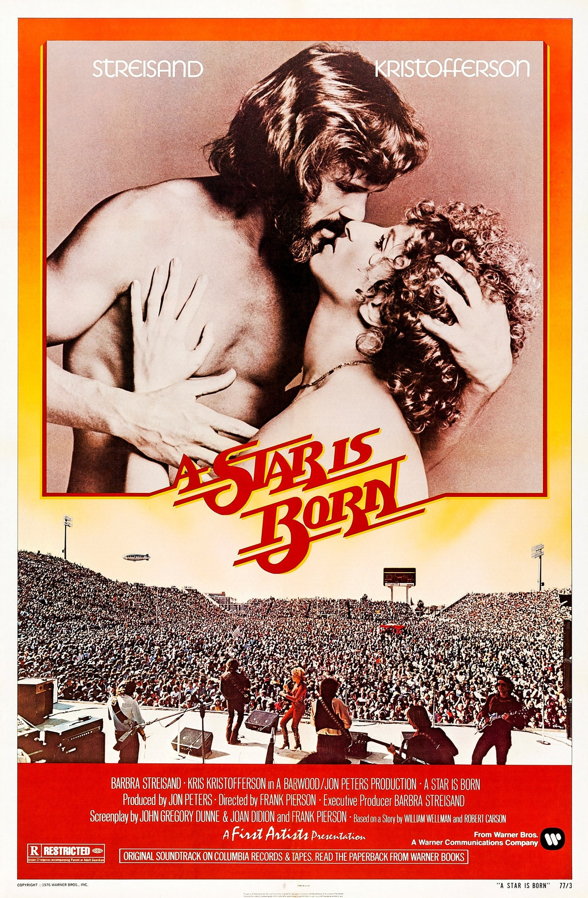A Star Is Born, poster, Kris Kristofferson, Barbra Streisand, 1976. (Photo by LMPC via Getty Images)