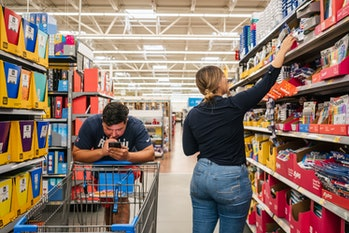HOUSTON, TEXAS - AUGUST 04: Customers shop at a Walmart store on August 04, 2021 in Houston, Texas. ...