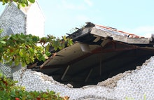 A destroyed building is seen in Les Cayes on August 15, 2021, after a 7.2-magnitude earthquake struc...