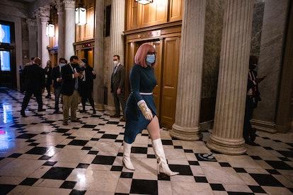 WASHINGTON, DC - DECEMBER 20: Sen. Kyrsten Sinema (R-AZ) heads to the Senate floor at the US Capitol...