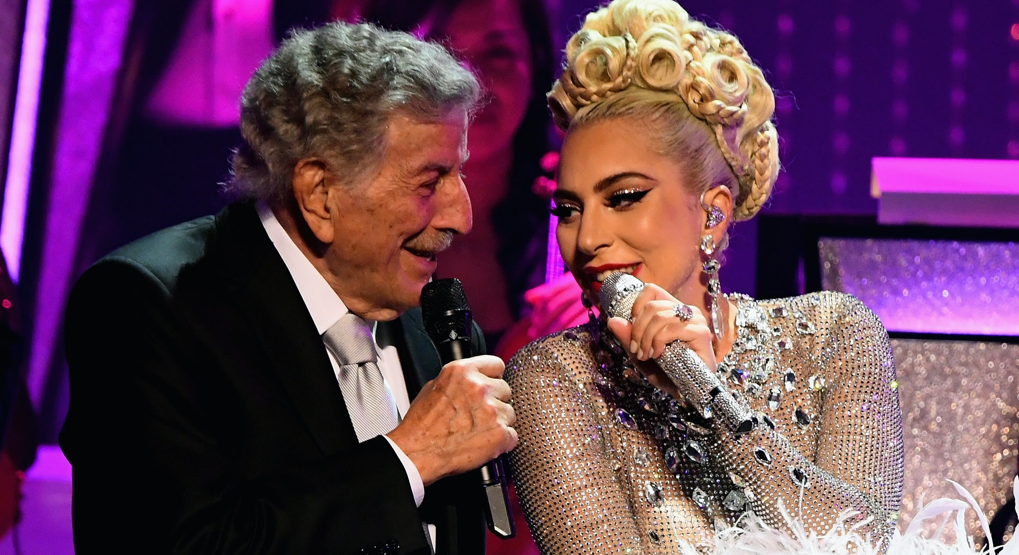 Lady Gaga performs with Tony Bennett during her 'JAZZ & PIANO' residency at Park Theater.