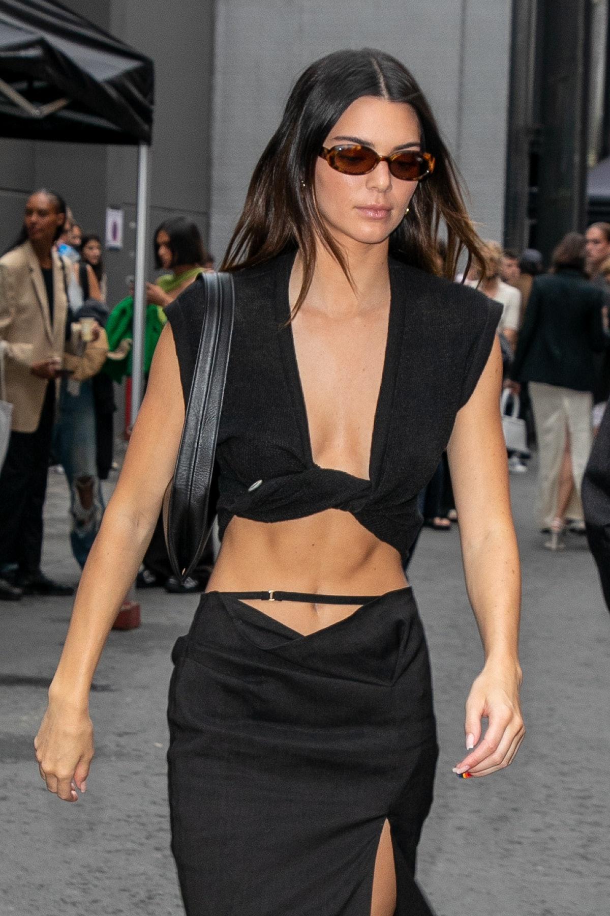 """SAINT-DENIS, FRANCE - JUNE 30: Model Kendall Jenner attends the Jacquemus """"La Montagne"""" show at La C..."""