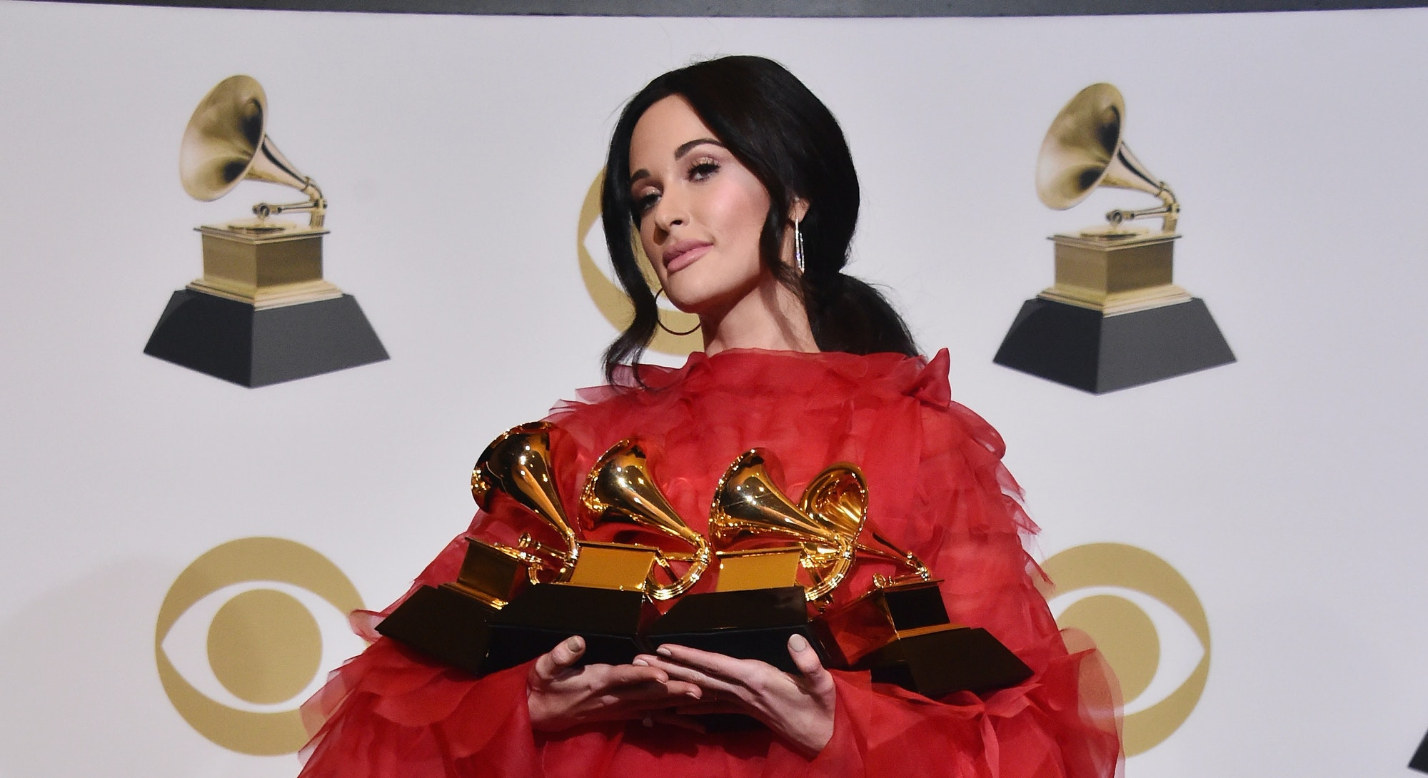 LOS ANGELES, CA - FEBRUARY 10:  Kacey Musgraves poses in the press room during the 61st Annual GRAMM...