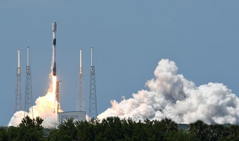 CAPE CANAVERAL, FLORIDA, UNITED STATES - 2021/05/26: A SpaceX Falcon 9 rocket lifts off from pad 40 ...