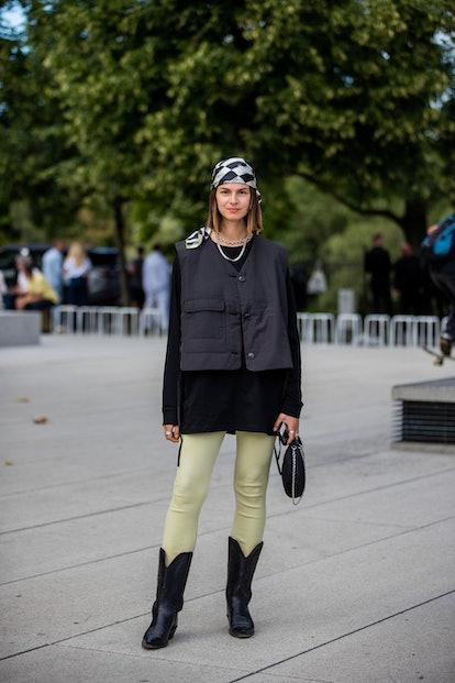 COPENHAGEN, DENMARK - AUGUST 11: Jacqueline Zelwis seen wearing vest, head scarf outside Baum und Pf...