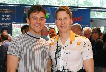 LONDON, ENGLAND - AUGUST 11:  Tom Daley (L) and Dustin Lance Black attend the press night performanc...