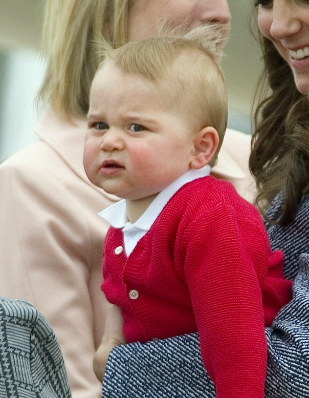 Prince George wears a red cardigan in Australia.
