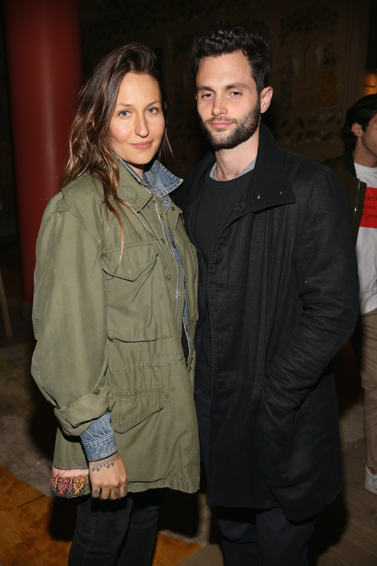NEW YORK, NY - APRIL 30: Domino Kirke and Penn Badgley attend The Weinstein Company and Lyft host a ...