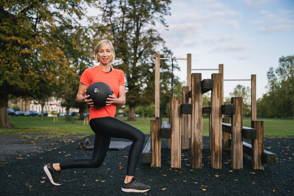 This medicine ball workout uses lunges to work your lower body muscles.