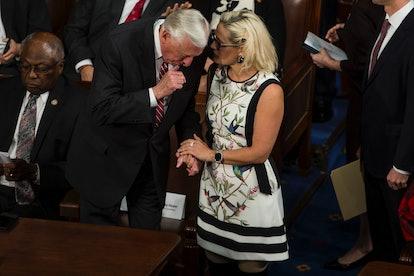 WASHINGTON, DC - APRIL 03:  House Majority Leader Steny Hoyer (D-MD) speaks to Sen. Kyrsten Sinema (...