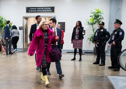 UNITED STATES - JANUARY 21: Sen. Kyrsten Sinema, D-Ariz., arrives for the Senate impeachment trial o...