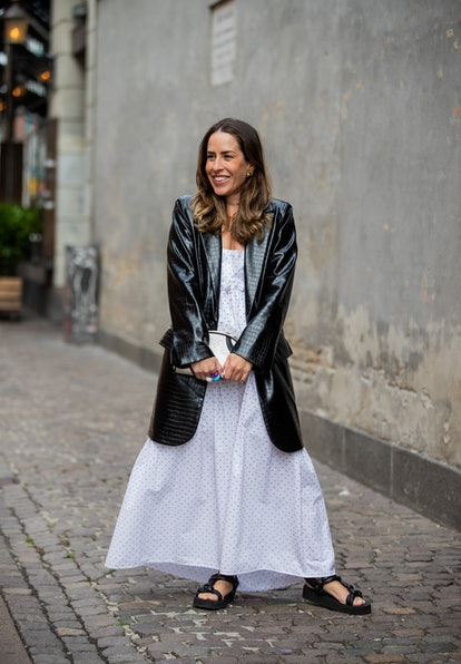 COPENHAGEN, DENMARK - AUGUST 10: Idalia Salsamendi is seen wearing jacket: Stand Studio, white Dress...