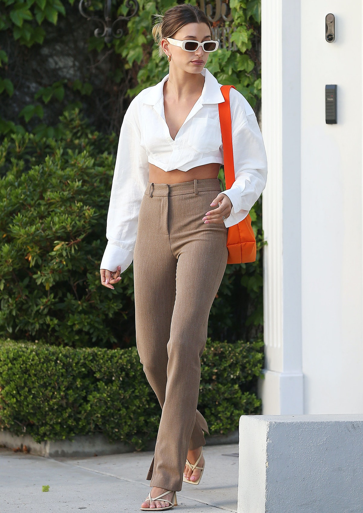 Hailey Bieber is seen about and about in Los Angeles, California in May 2021.