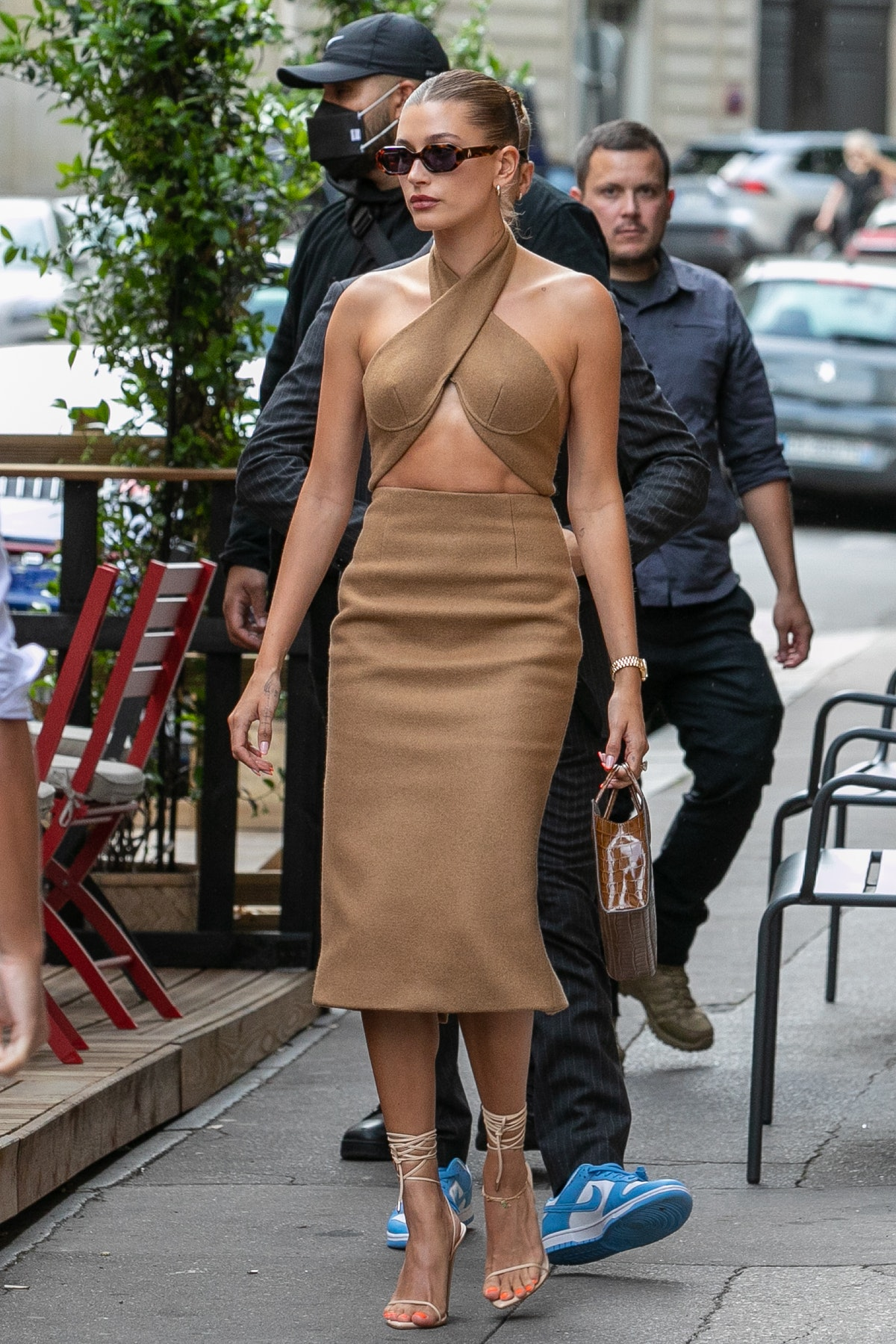 Hailey Bieber is seen leaving the 'Dinand by Ferdi' restaurant in Paris, France in June 2021.