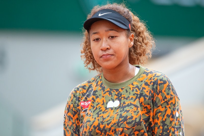 PARIS, FRANCE May 26. Naomi Osaka of Japan during practice on Court Philippe-Chatrier in preparation...