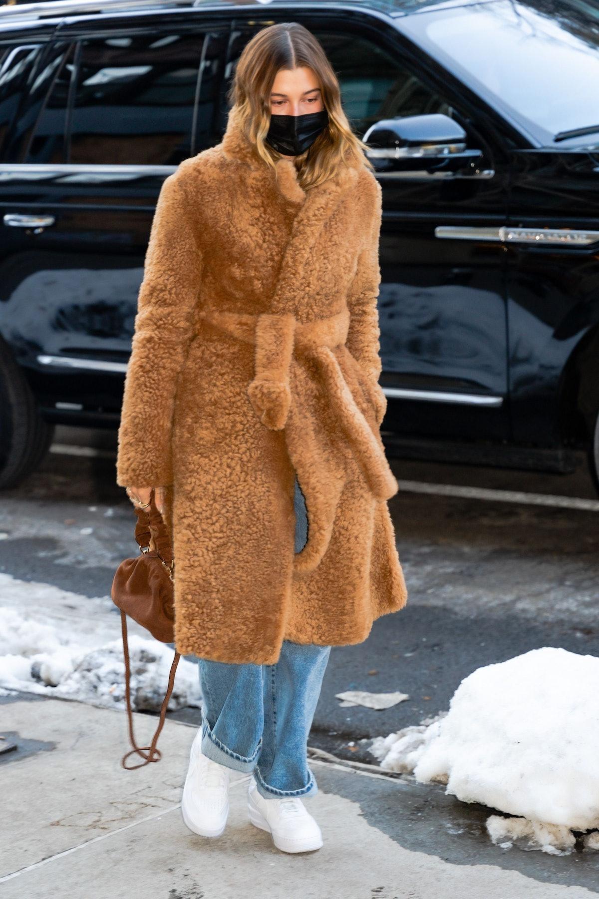 Hailey Bieber is seen in SoHo in New York City in February 2021.