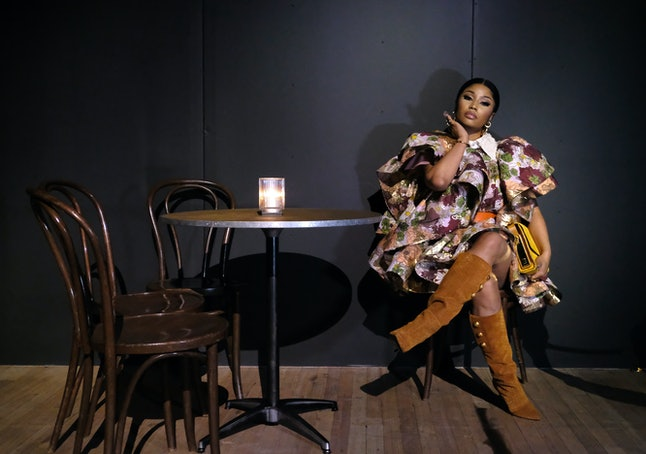 NEW YORK, NEW YORK - FEBRUARY 12: Nicki Minaj attends the Marc Jacobs Fall 2020 runway show during N...