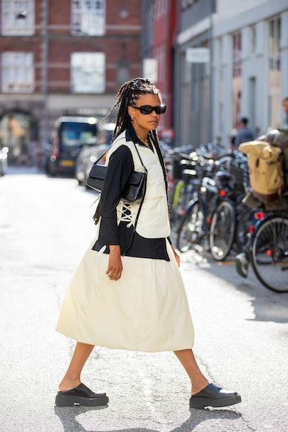 COPENHAGEN, DENMARK - AUGUST 11: A guest is seen outside By Malene Birger on August 11, 2021 in Cope...