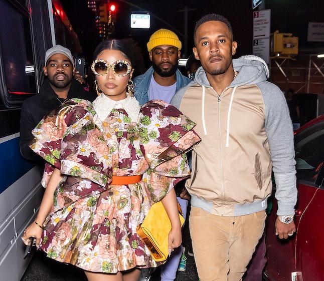 NEW YORK, NEW YORK - FEBRUARY 12: Kenneth Petty and Rapper Nicki Minaj are seen leaving the Marc Jac...