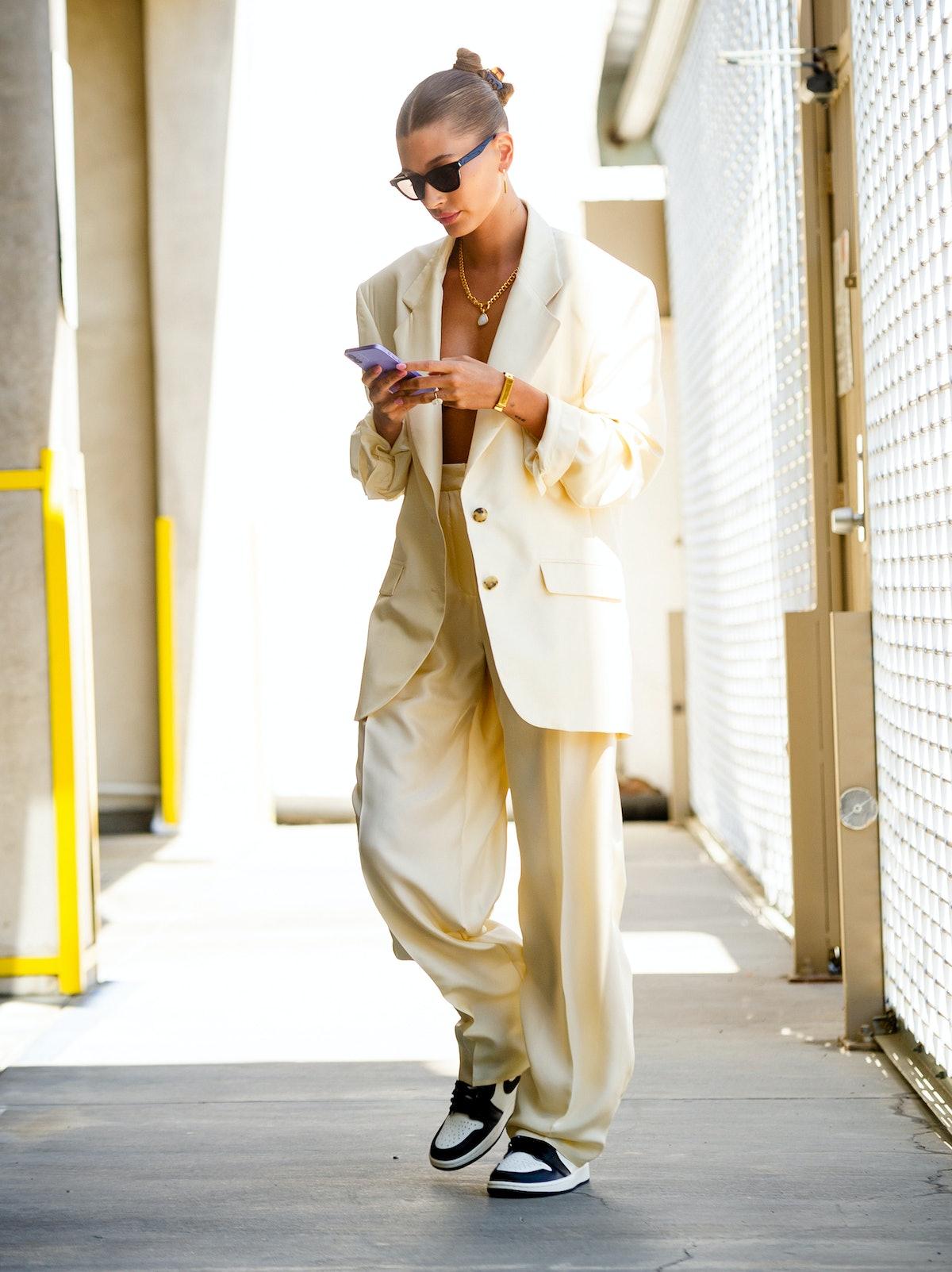 Hailey Bieber is seen in Los Angeles, California in July 2021.