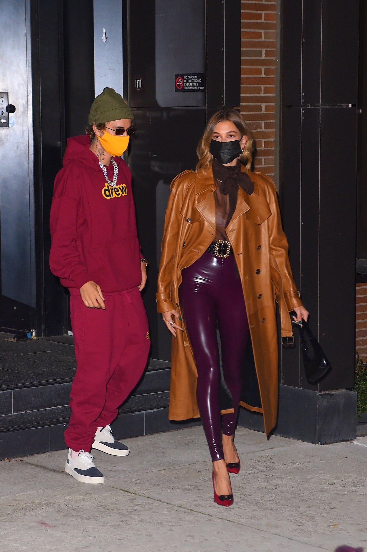 Justin Bieber and Hailey Bieber are seen out for dinner in NoHo in New York City in October 2020.