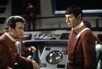 Canadian actor William Shatner and American Leonard Nimoy on the set of Star Trek: The Wrath of Khan...