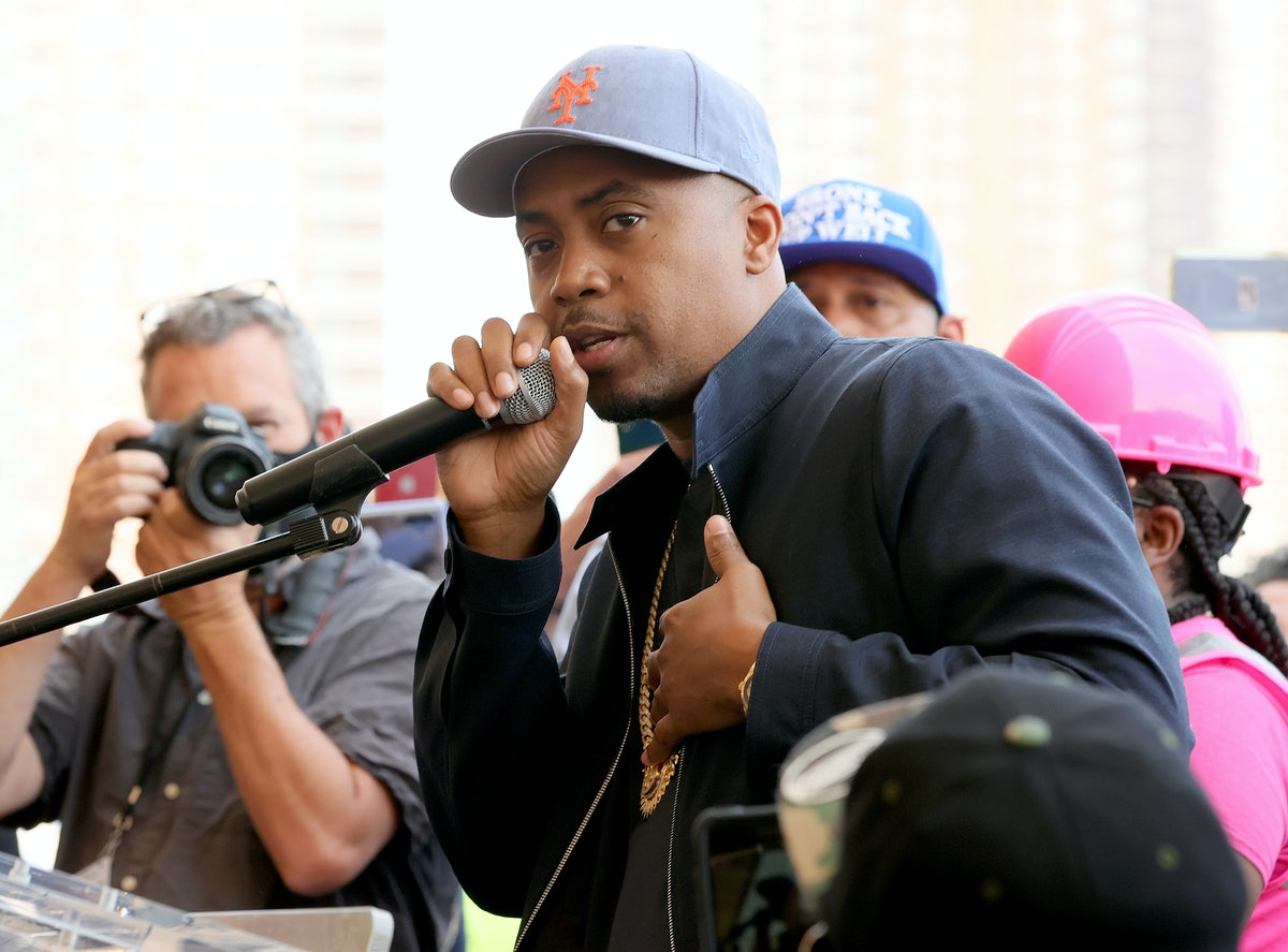 NEW YORK, NEW YORK - MAY 20: Rapper NAS speaks at The Universal Hip Hop Museum Groundbreaking Ceremo...