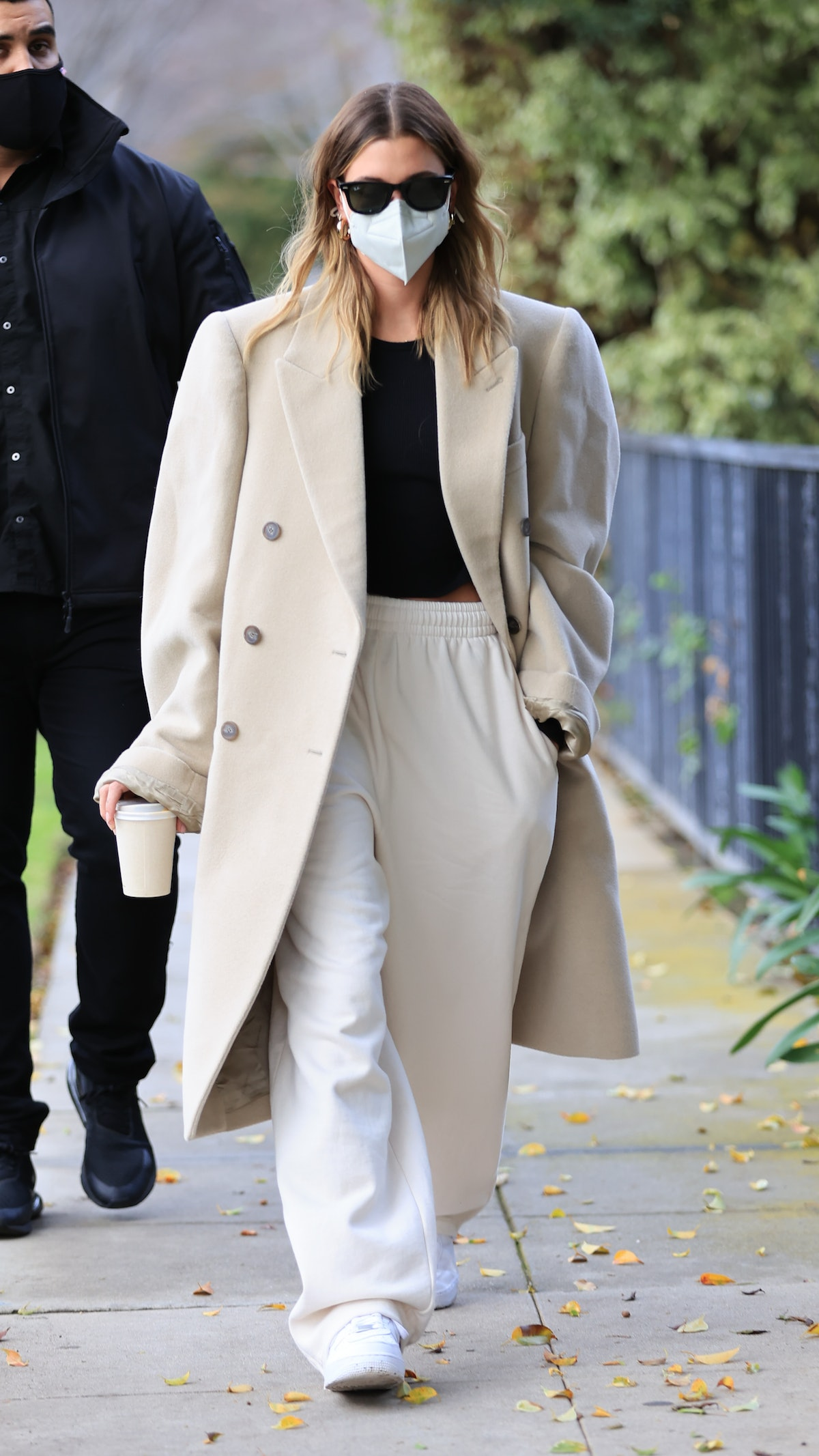 Hailey Bieber is seen in Los Angeles, California in January 2021.