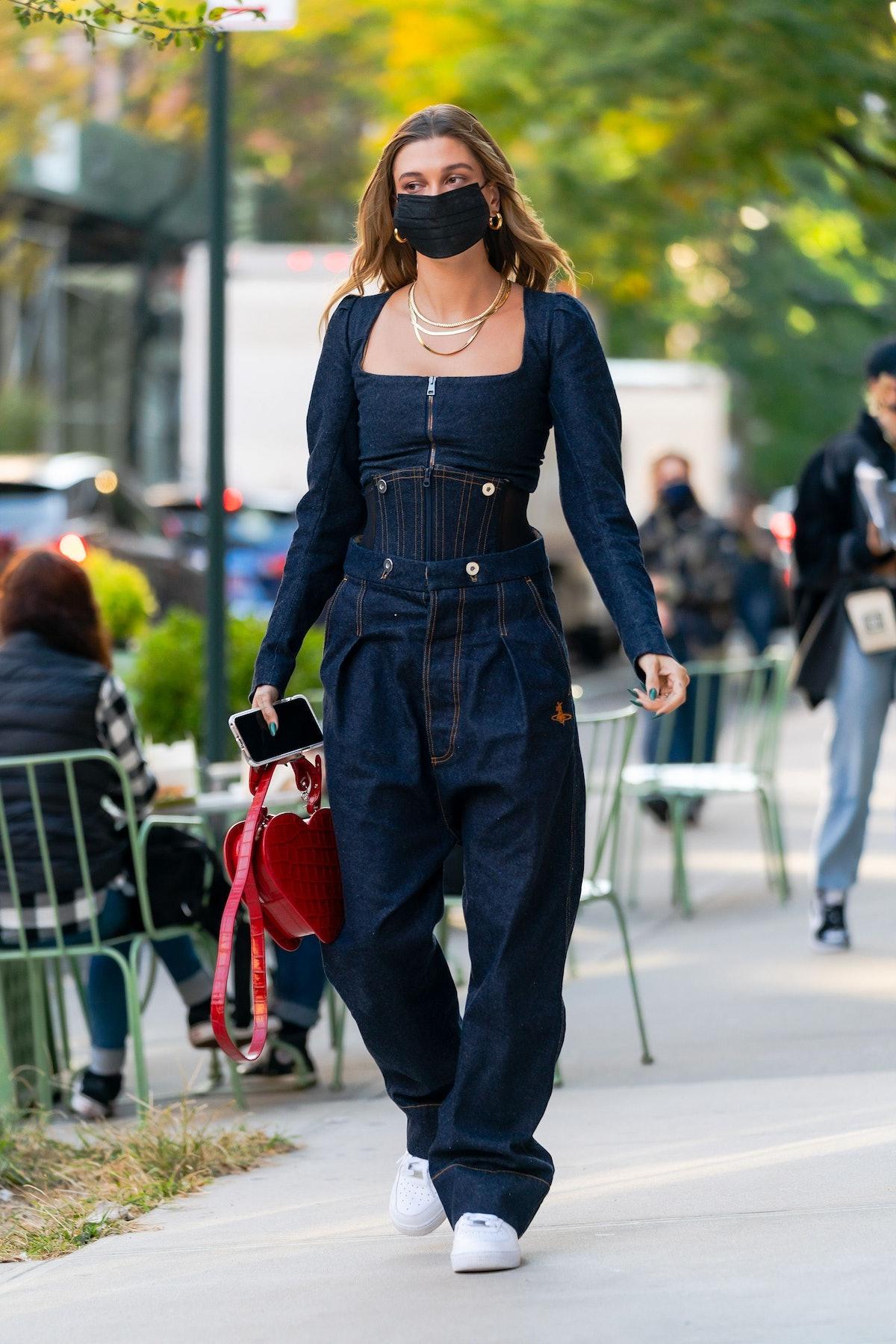 Hailey Bieber is seen in SoHo in New York City in October 2020.