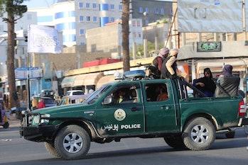 HERAT, AFGHANISTAN - AUGUST 18: Taliban patrol in Herat city after took control in Herat, Afghanista...