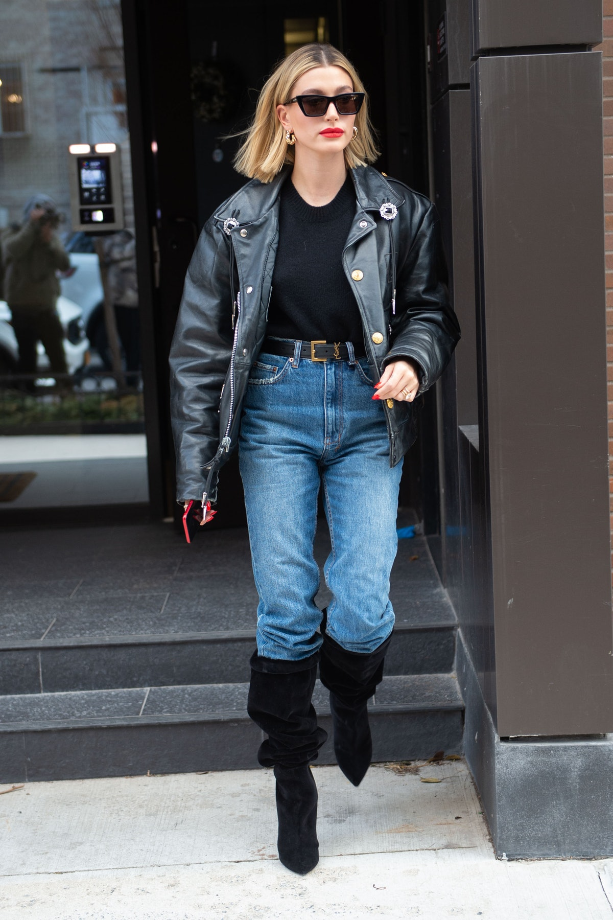 Hailey Bieber is seen in New York City in February 2020.